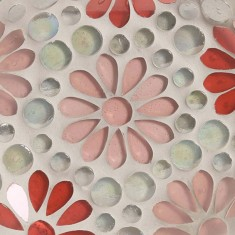 Pink Floral Mosaic Glass Jar Plate zoom
