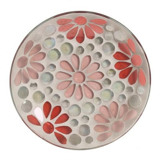Pink Floral Mosaic Glass Jar Plate