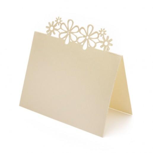 Place Card Laser Flower - Ivory
