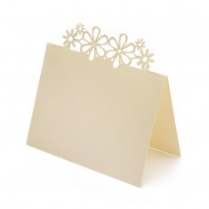 Place Card Laser Flower - Ivory