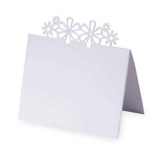 Place Card Laser Flower - White