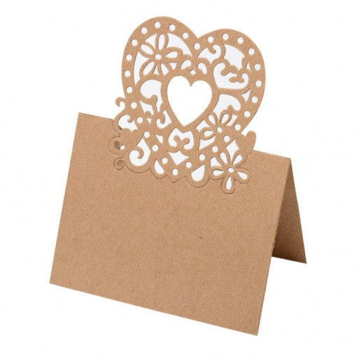 Place Card Laser Heart - Brown