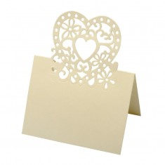 Place Card Laser Heart - Ivory