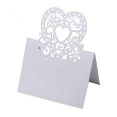 Place Card Laser Heart - White