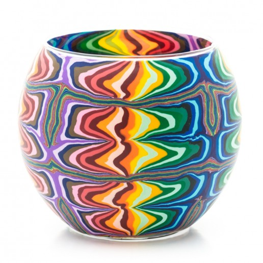 Rainbow Ripples - Glowing Globe Glass Tea Light Candle Holder