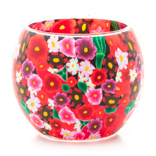 Red Flowers - Glowing Globe Glass Tea Light Candle Holder