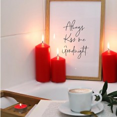 Red pillar candles lifestyle