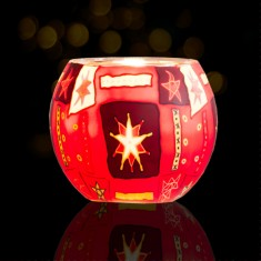 Red Star - Glowing Globe Glass Tea Light Candle Holder lit