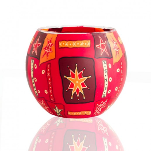 Red Star - Glowing Globe Glass Tea Light Candle Holder