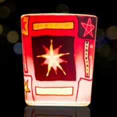 Red Star - Glowing Votive Glass Tea Light Candle Holder lit