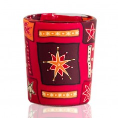 Red Star - Glowing Votive Glass Tea Light Candle Holder