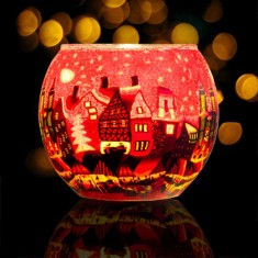 Red Town - Glowing Globe Glass Tea Light Candle Holder lit