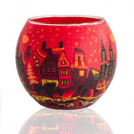 Red Town - Glowing Globe Glass Tea Light Candle Holder