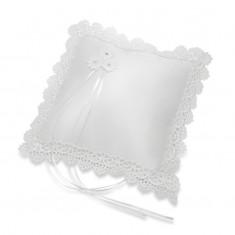 Satin Square Ring Cushion Scalloped Lace - White