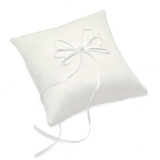 Satin Square Ring Cushion with Ribbon - Ivory
