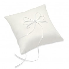 Satin Square Ring Cushion with Ribbon - Ivory