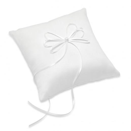 Satin Square Ring Cushion with Ribbon - White