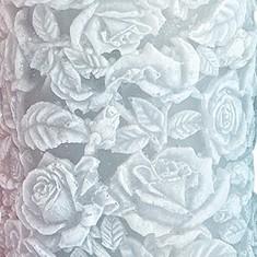 Sculpted Roses Pillar  - Grey closeup
