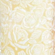 Sculpted Roses Pillar  - Ivory closeup