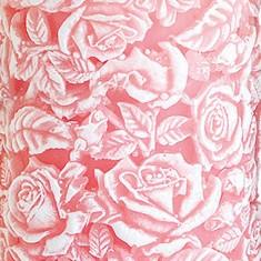Sculpted Roses Pillar  - Pink closeup