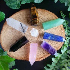 Seven Chakras 8pc Set Healing Crystals Wands flatlay