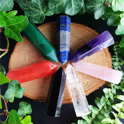 Seven Heling Crystal Wands Set in Trinket Box flatlay