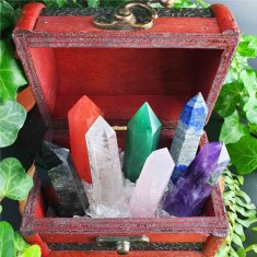 Seven Heling Crystal Wands Set in Trinket Box lifestyle