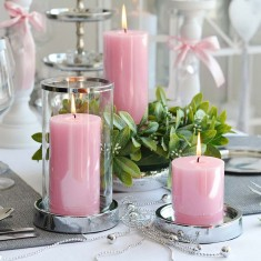 Shiny Pillar Candles Pink lifestyle