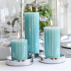 Shiny Pillar Candles Teal lifestyle