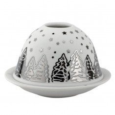 Shooting Star - Glowing Dome Porcelain Tea Light Holder Silver back