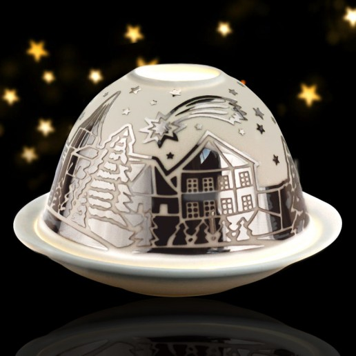 Shooting Star - Glowing Dome Porcelain Tea Light Holder Silver