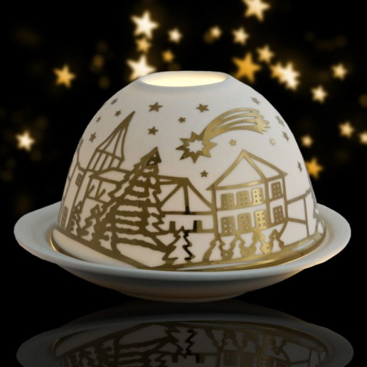 Shooting Star - Glowing Dome Porcelain Tea Light Holder
