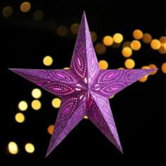 'Sidhartha' Purple - Large Paper Star Light lit