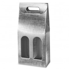 Silver Presentation Box For 2 Wine Bottles