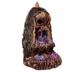 Skull & Crystal Cave LED Backflow Incense Cone Burner angle