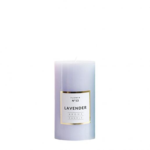 Small Shiny Pillar Candles - Lavender
