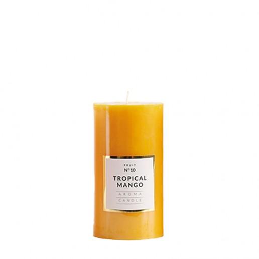 Small Shiny Pillar Candles - Tropical Mango
