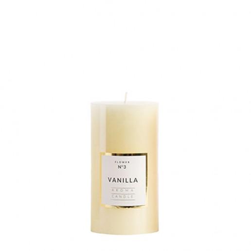 Small Shiny Pillar Candles - Vanilla