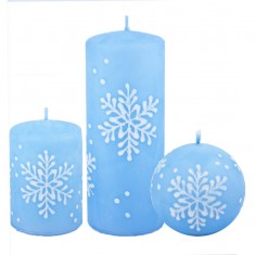 Snowflake Pastel Blue Candle Collection