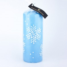 Snowflake Pastel Blue Large Pillar Candle wrapped