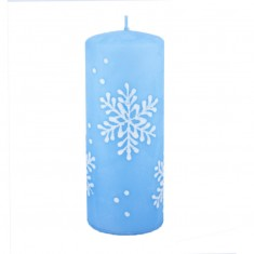 Snowflake Pastel Blue Large Pillar Candle