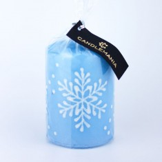 Snowflake Pastel Blue Small Pillar Candle wrapped