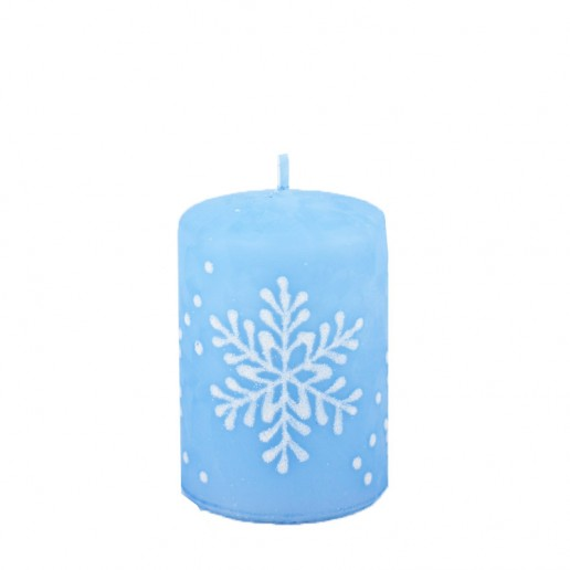Snowflake Pastel Blue Small Pillar Candle