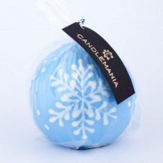 Snowflake Pastel Blue Sphere Candle wrapped