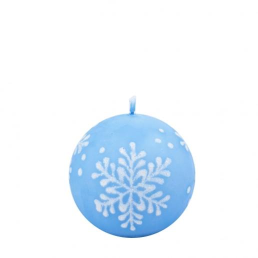 Snowflake Pastel Blue Sphere Candle