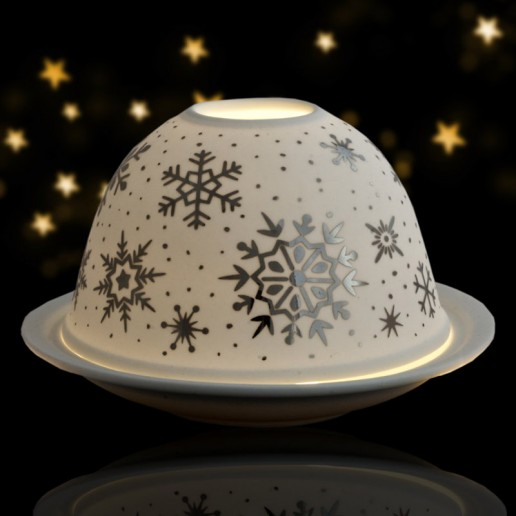 Snowflakes - Glowing Dome Porcelain Tea Light Holder