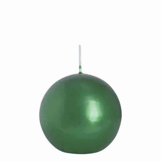 Sphere Candle 10cm - Metallic Green