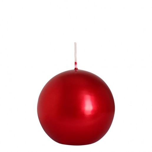 Sphere Candle 10cm - Metallic Red
