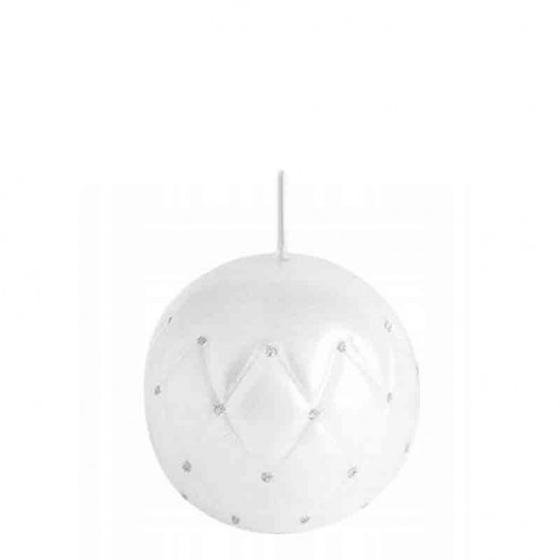 Sphere Candle 10cm - White With Silver