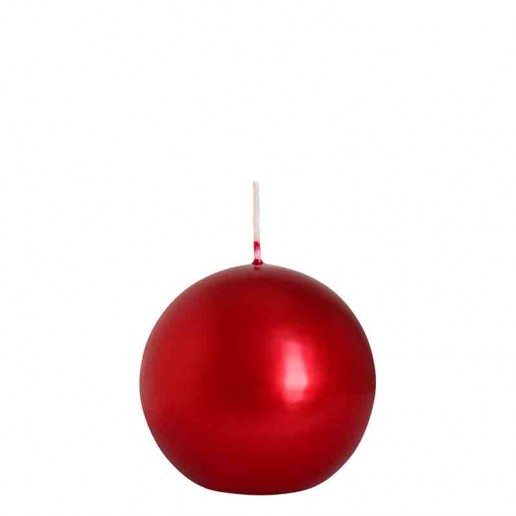 Sphere Candle 8cm - Metallic Red